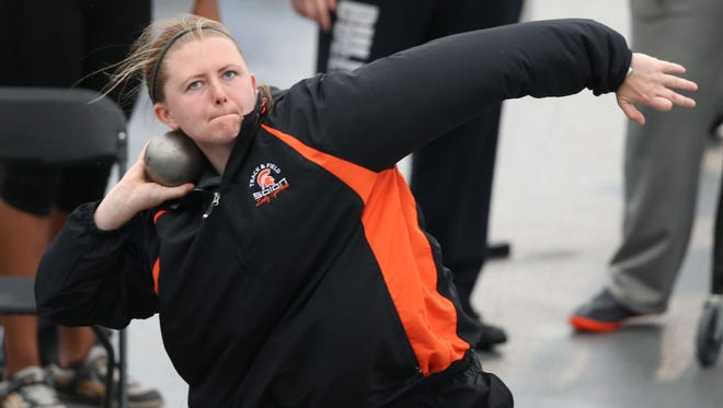 Solon thrower Shelby Gunnells warms up while competing in the girls shot put at the Drake Relays last year. She has tallied three career-best performances in the shot put this season and seeks a second straight Drake Relays' title in the event.