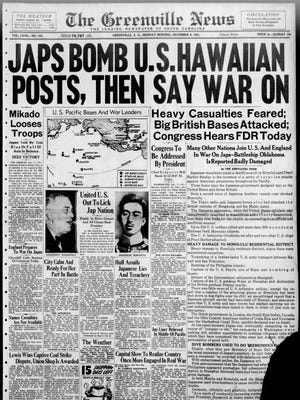 The front page of The Greenville News on Dec. 8, 1941.