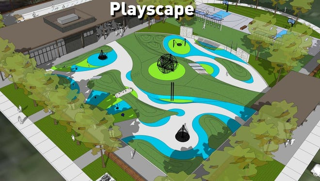A new playground at Tarkington Park will have a rubberized surface and climbing feature.