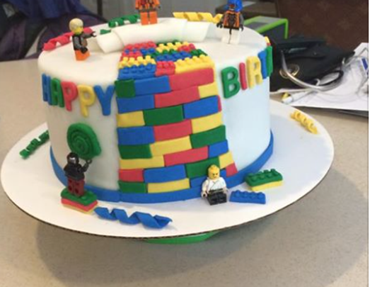 A Lego-themed birthday cake created by Tome School sophomore Ryan MacEachern of Northeast, Maryland.