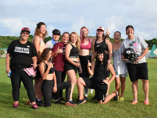 The visiting Russian Cobras, a women's American Football