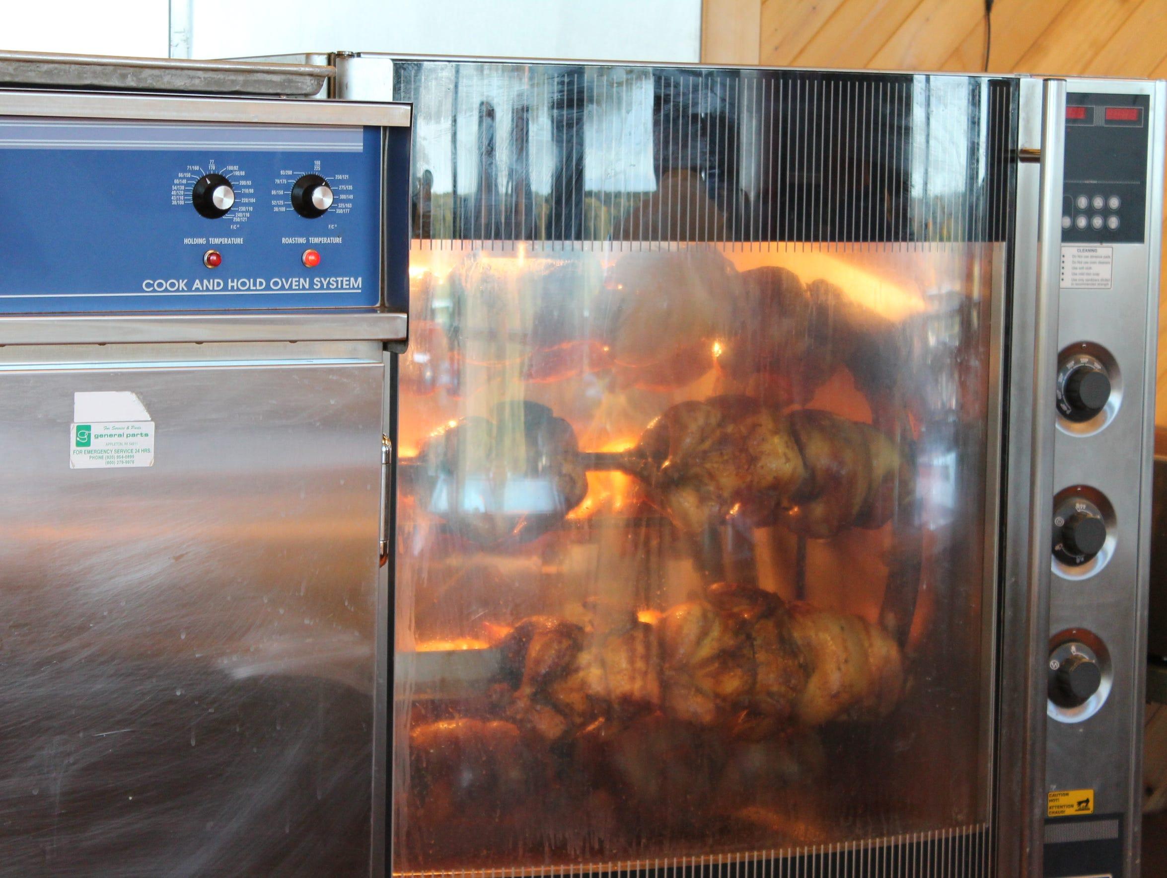 Sunday chicken dinner in progress at Lambeau Field.