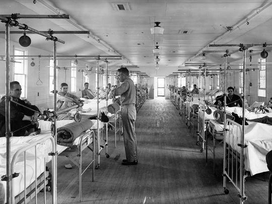 A ward filled with recovering soldiers.