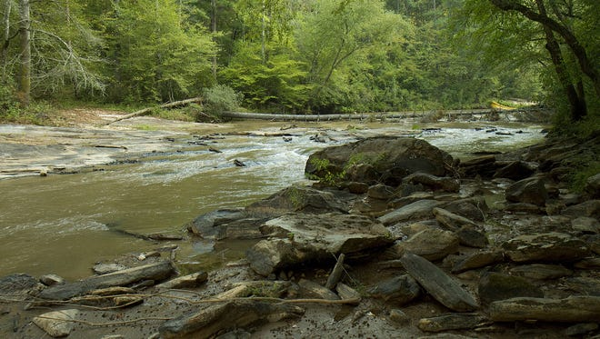 This file photo shows the area in the Twelve Mile River where the Woodside II Dam once stood. The dam was removed as part of a PCB mitigation effort on the river.