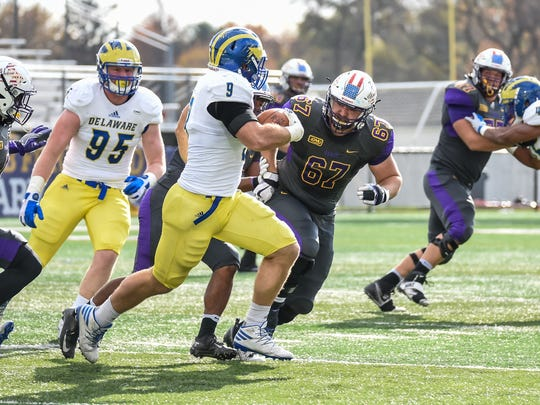 Delaware's Troy Reeder had five tackles, two fumble recoveries and an interception in the Hens' 33-17 win over Albany in Nov. 2016.