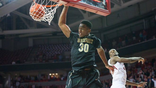 Vanderbilt center Damian Jones (30) was named to the All-SEC first team for a second straight year