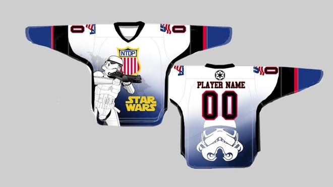 This is what USA Hockey NTDP Under-18 players will wear Saturday night at USA Hockey Arena against Green Bay.