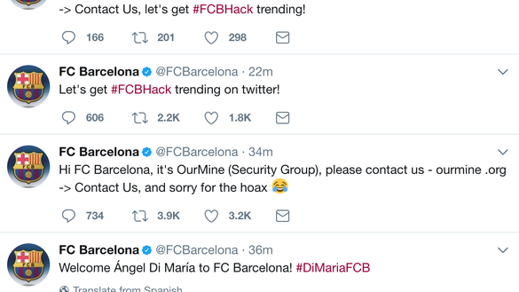 FC Barcelona Twitter hackers 'welcome' Angel Di Maria to club, then apologize for 'hoax'