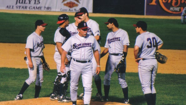 Former major-league pitcher Sparky Lyle (front) was the Somerset Patriots' first manager.