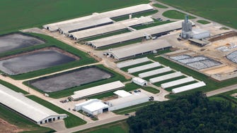 The Wiese Brothers Dairy Farm is shown on the east side of the Fox River watershed in Greenleaf. It is one of the largest dairy operations in the state. Another large dairy farm, or concentrated animal feeding operation, in Wood County is up for consideration by the state Department of Natural Resources.