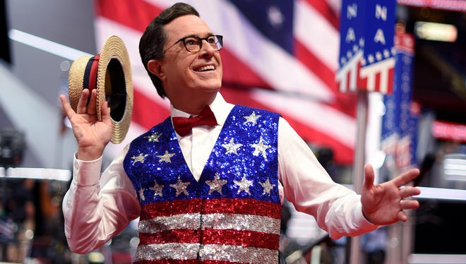 Stephen Colbert, host of 'The Late Show' tapes a segment for his show at the Quicken Loans Arena on July 17, 2016, ahead of the Republican National Convention in Cleveland, Ohio.