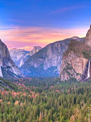 Sunset at Yosemite National Park with Bridalveil Falls, El Capitan and Half Dome