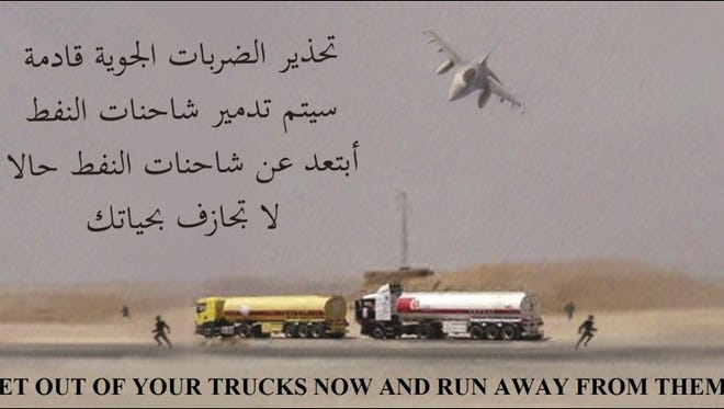 Leaflet used in attack on Islamic State convoy.