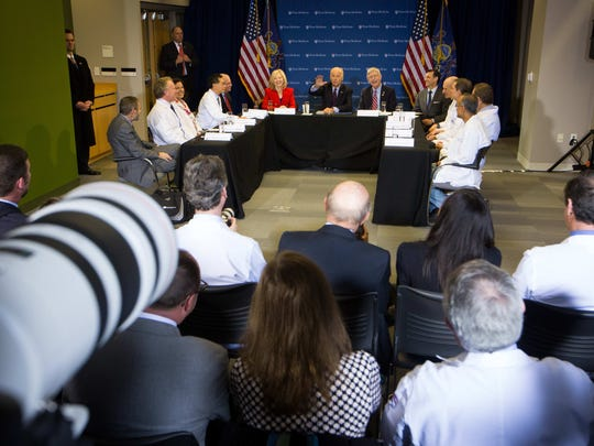 Vice President Joe Biden speaks at University of Pennsylvania School of Medicine in Philadelphia on Friday to officially launch his effort to cure cancer. Biden met with doctors and researchers at the Smilow Center for Translational Research.