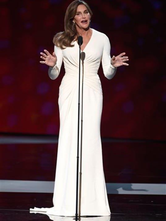 FILE - In this July 15, 2015 file photo, Caitlyn Jenner accepts the Arthur Ashe award for courage at the ESPY Awards in Los Angeles.