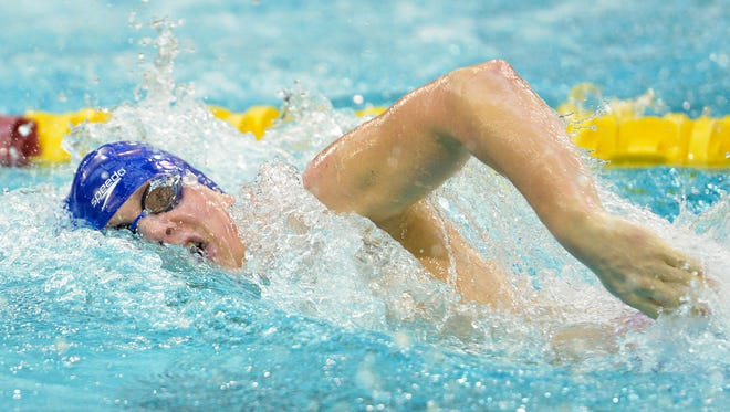 Sartell-St. Stephen's Spencer Sathre competes in the 200 yard freestyle during the boys Class A swimming and diving championship meet Saturday at the University of Minnesota Aquatic Center in Minneapolis.