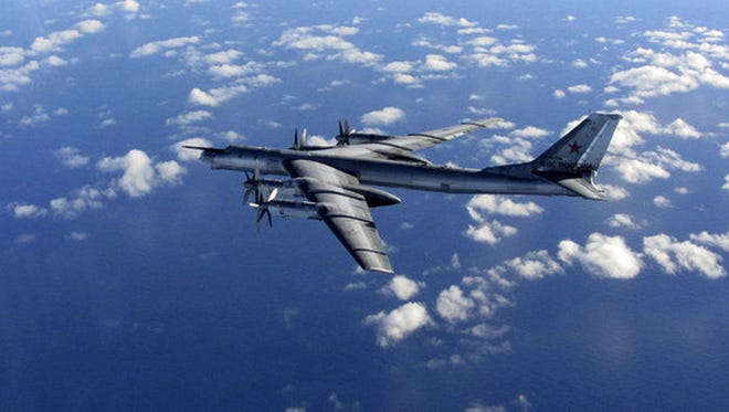 File photo of a Russian military long range bomber photographed by Britain's Royal Air Force.