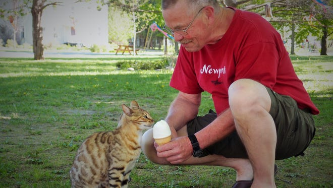 Kerry Burke shares a maple creemee with a wandering cat on May 17 at the Jericho Green.