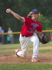 Randolph West's Joe Reed pitches against Tri-Town as the teams face off Monday, July 10, 2016, in the District 1 Little League baseball final. Randolph won, 4-3.