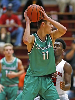FILE -- Cloverdale's #11 Cooper Neese looks for an opening during the Cloverdale vs Park Tudor basketball game of the Tip Off Classic at Southport Fieldhouse, Saturday, December 10, 2016.  Park Tudor won the game 74-63.
