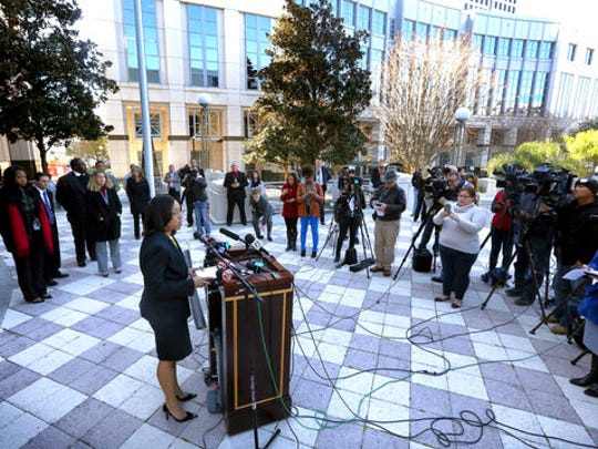 In a press conference on the steps of the Orange County Courthouse Thursday, March 16, 2017, Orange-Osceola State Attorney Aramis Ayala announces that her office will no longer pursue the death penalty as a sentence in any case brought before the 9th Judicial Circuit of Florida.