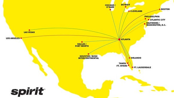 A map showing Spirit Airlines' routes from Atlanta.