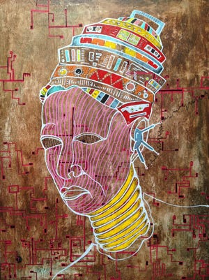 """Artist Donté K. Hayes' """"Universal frequency,"""" an acrylic painting on panel, is part of the exhibit """"Afrofuturist"""" at garner narrative contemporary fine art."""