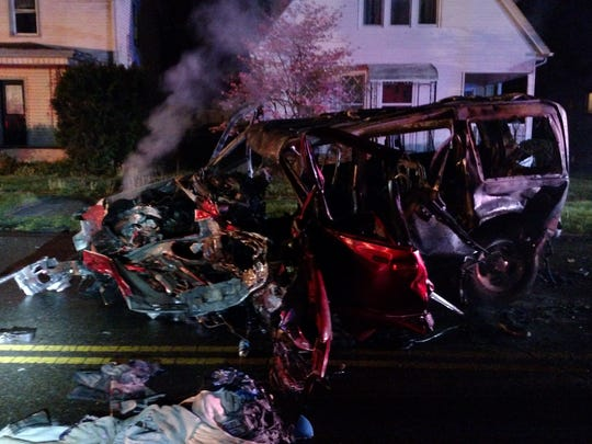 One person was flown to a Columbus hospital following a crash on the 500 block of Hudson Avenue Friday morning.