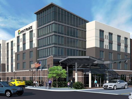 Renderings of a proposed Hyatt Place hotel at the corner of Chestnut and Second streets in Downtown Evansville.