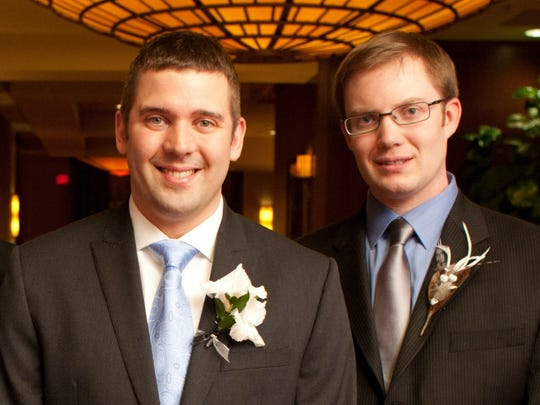 Jonathan Wieseler, right, is seen with his friend Adam Santi at Santi's wedding in this contributed photo. Wieseler was killed on Sunday.