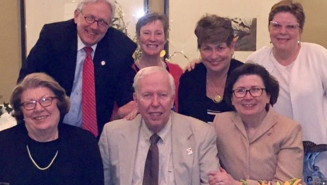 Milestone birthday  Dr. Linda Bennett hosted a dinner party recently at the Evansville Country Club to celebrate Jim Sanders' milestone birthday. Enjoying the festivities are from left Darla Olberding, David Bower, birthday boy Jim Sanders, Mary Bower, Sherrianne Standley, Dr. Bennett and Connie Weinzapfel.