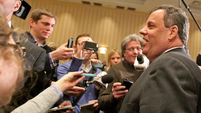 New Jersey Gov. Chris Christie speaks to the media at the 3rd Annual Lincoln-Reagan Dinner on Feb. 16 in Concord, N.H.