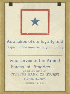 Citizens Bank, precursor to Seacoast, always being community oriented, offered a token of loyalty and respect to symbolize this effort for families with servicemen in the military forces. In the photo are the words that were on the back.