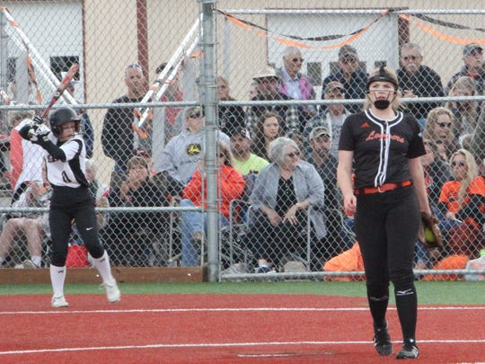 Scio pitcher Kelsey Pollard (right) prepares to pitch against Dayton on Tuesday, May 30, 2017.