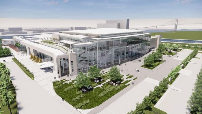 A proposed expansion for the Savannah Convention Center would double the exhibit hall space, add a 60-foot-wide hangar door, new entrance with an all-glass facade, outdoor space, a 40,000-square-foot ballroom, 15 meeting rooms and 900 parking spaces. A new hotel will also be constructed on the western side.