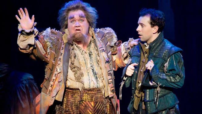 "Blake Hammond, left, as Thomas Nostradamus and Rob McClure as Nick Bottom in the national tour of ""Something Rotten!"" The musical, which was nominated for 10 Tony Awards, is at the Aronoff Center through March 5 as part of the Broadway in Cincinnati series."