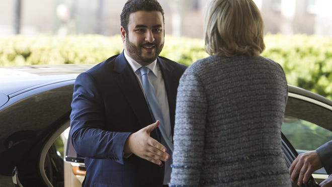 Prince Khalid bin Salman, Saudi deputy defense minister, arrives at the Department of State for a meeting with Secretary of State Mike Pompeo, in Washington, Thursday, March 28, 2019. Salman is the son of Saudi Arabia's King Salman and brother of Crown Prince Mohammed bin Salman.