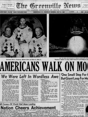 The front page of The Greenville News on July 21, 1969