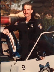 Salinas Police  training officer, Tim Mclaughlin, arranged to have this picture of Salinas Police Chief Kelly McMillin taken when he was in his second month of training.