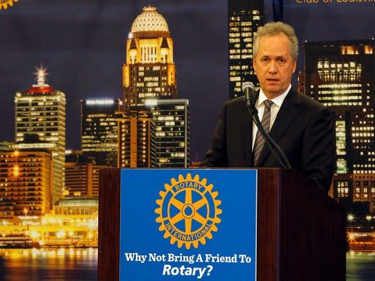 Louisville Mayor Greg Fischer addressed the Rotary