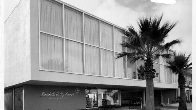 The Coachella Valley Savings and Loan in Palm Springs, built in 1955. The building, designed by E. Stewart Williams, is now an event space called The Bank.