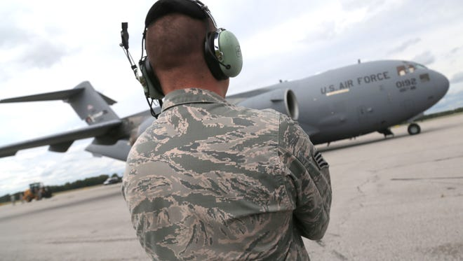 Members of the Ohio National Guard 200th Red Horse Squadron loaded up two C-17s with relief cargo for the victims of hurricane Irma on Wednesday.