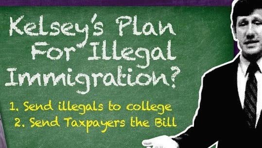 The ad by the Power of Liberty Inc. criticizes Brian Kelsey on a 2015 vote in which he supported giving in-state tuition at public universities and colleges to undocumented immigrants.