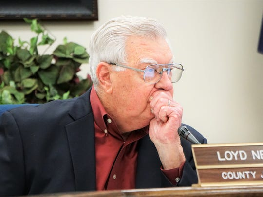 Nueces County Judge Loyd Neal listens to a presentation from Texas General Land Office representatives during a special meeting at the county courthouse on Tuesday, Dec. 19. The meeting was meant to provide an update on the status of housing assistance for those affected by Hurricane Harvey in Nueces County.