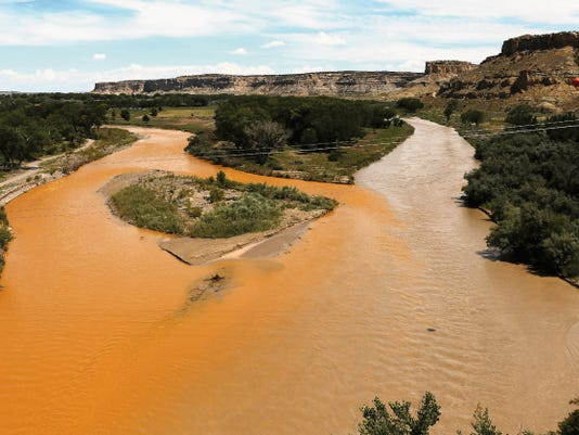 The confluence of the San Juan and Animas rivers is pictured on Aug. 8 in Farmington. The Animas River, at left, merges into the San Juan River, right.