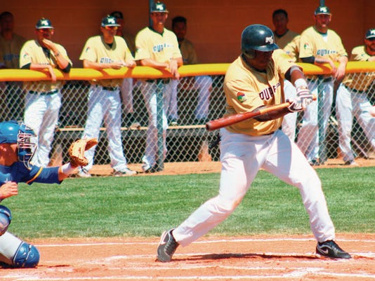 Brandon Burkes connects for base hit Wednesday morning at the Griggs Sports Complex.