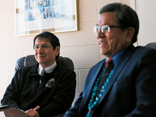 Navajo Nation Presidential Candidate Russell Begaye and running-mate Jonathan Nez speak during an interview on Thursday in Farmington.