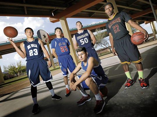 MARK LAMBIE—EL PASO TIMES  The El Paso Times' boy's All-City First Team are Steven Montez of Del Valle, Jordan Enriquez of Bel Air, Josh Gallegos of Bel Air, Abraham Gamboa of Coronado and Alvin Warren of Andress.