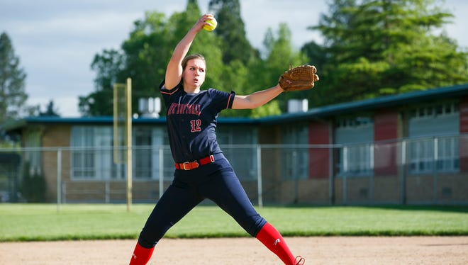 Kennedy's Tressa Riedman pitches against Gaston in a first round playoff game on Wednesday, May 24, 2017, at Kennedy High School in Mt. Angel, Ore. Kennedy defeated Gaston 15-2 in five innings.