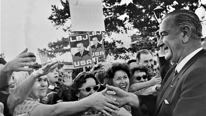 President Lyndon Johnson campaigns in Augusta in 1964.